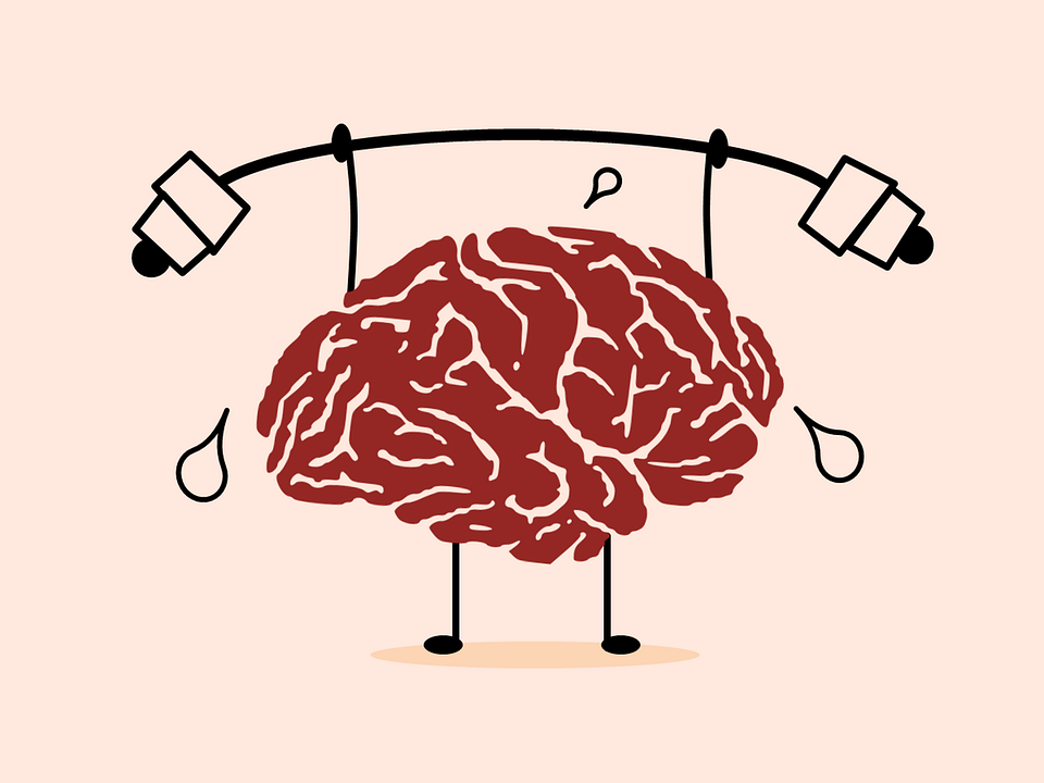 A cartoon brain lifting weights