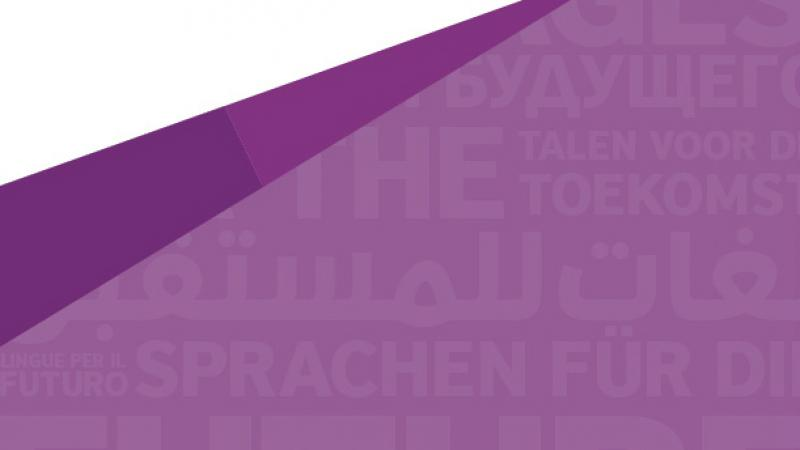 Header image from the British Council showing many different langauges