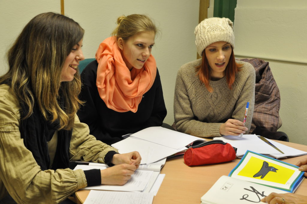 A group of students in a Japanese class.